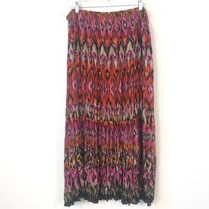 Avenue Sheer Pleated Ikat Maxi Skirt